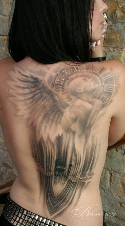 Big Angel tattoo on back