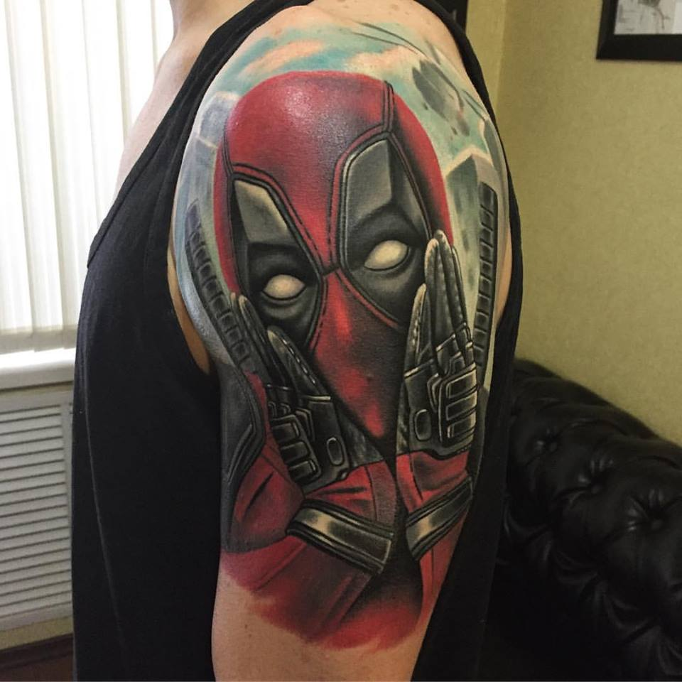 Big Dead pool tattoo on shoulder