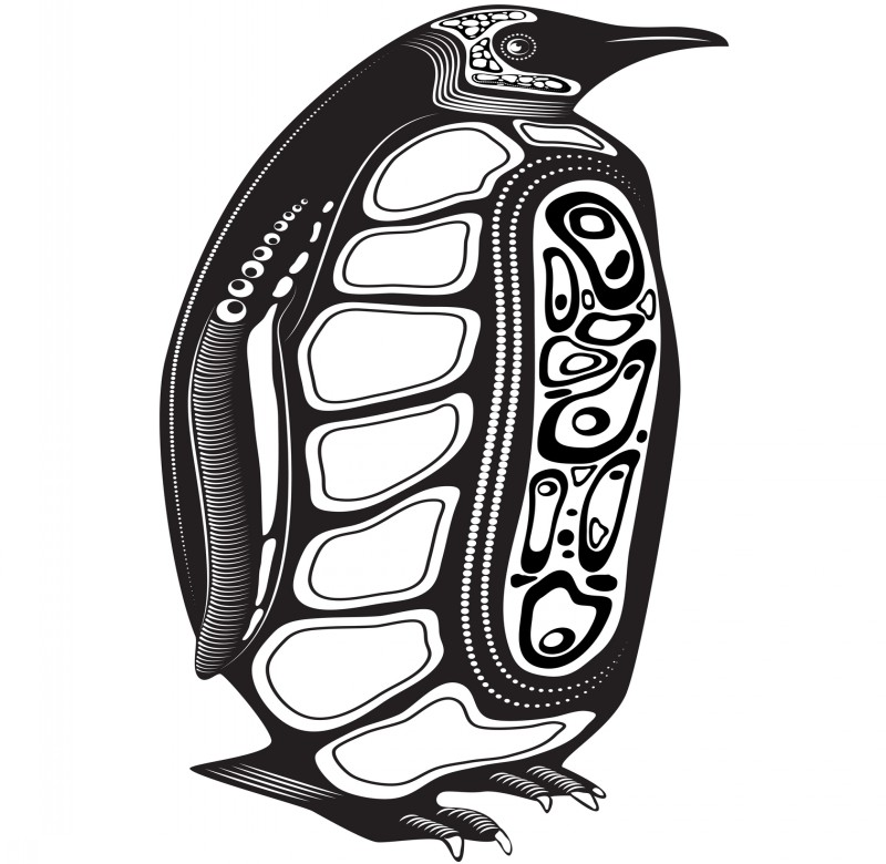 Big black-and-white penguin with interesting pattern tattoo design