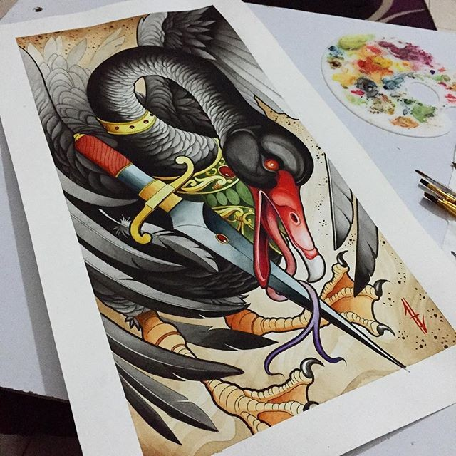 Big black flying swan with red beak and fighting sword tattoo design