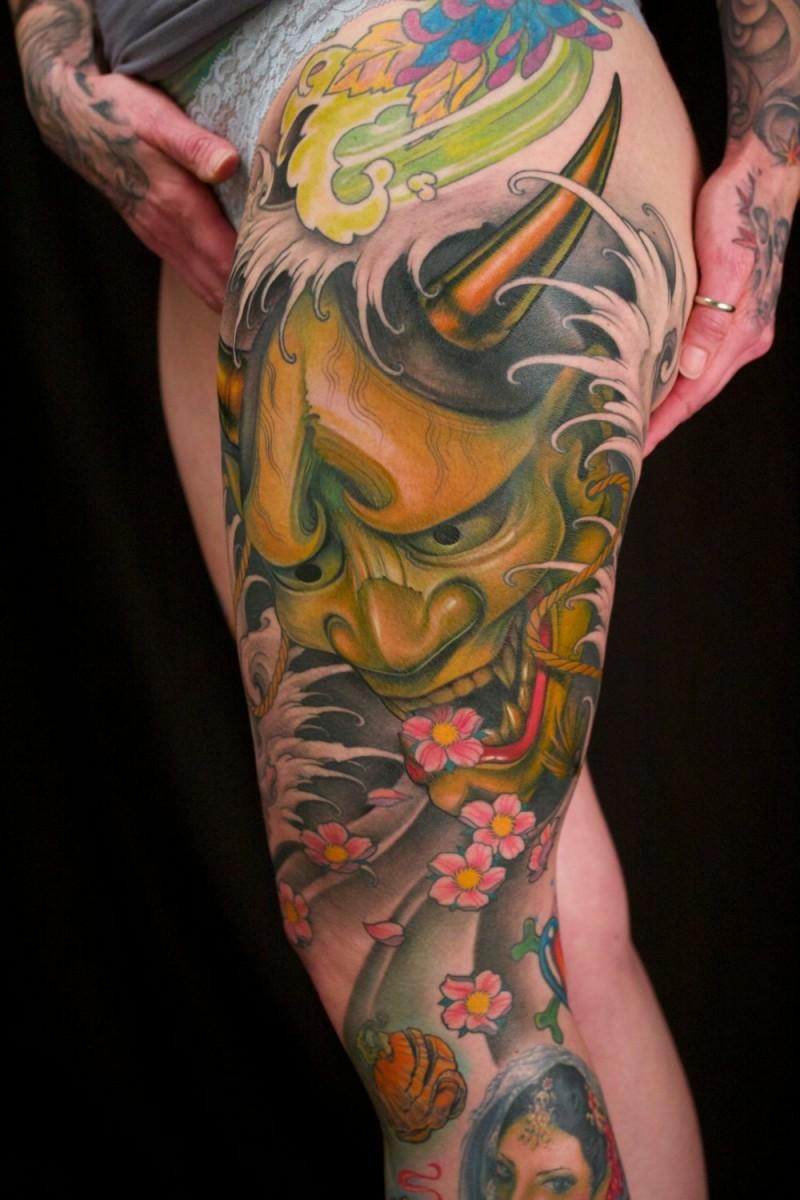 Big colored hanya tattoo on leg
