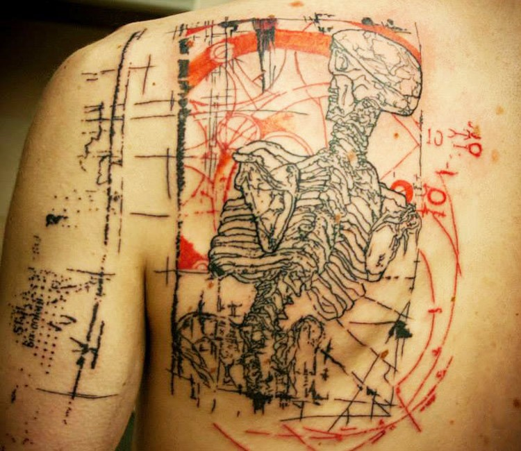 Big colored scapular tattoo of human skeleton with lettering