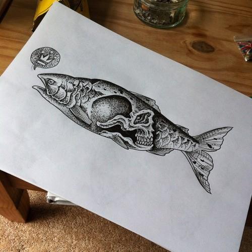 Big dotwork fish with skull print tattoo design