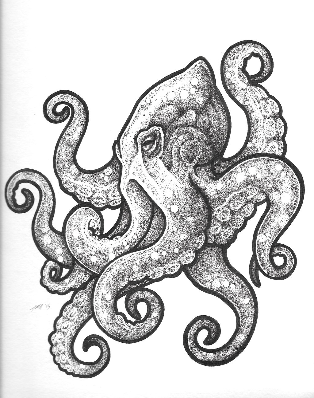 Black And White Octopus Tattoo