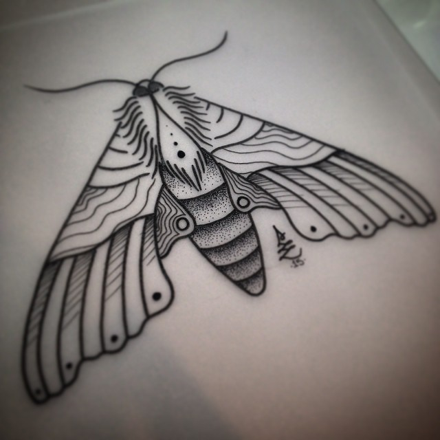 Big grey-ink close-winged moth tattoo design