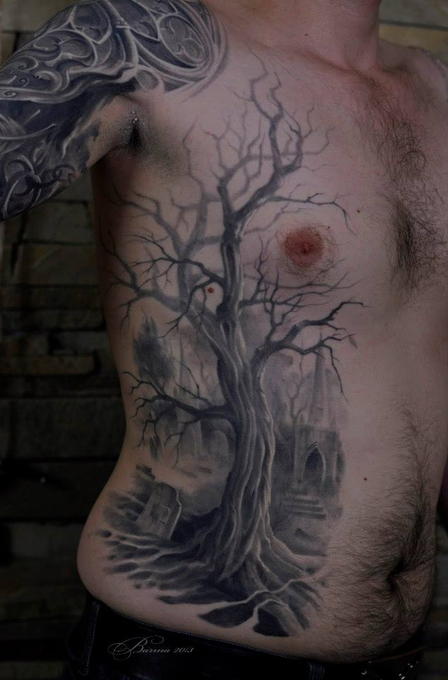 Big grey dried tree tattoo on side