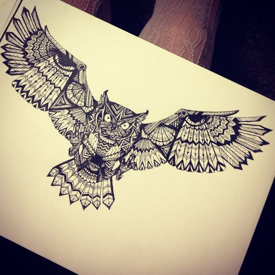 Big indian flying owl with geometric ornament tattoo design