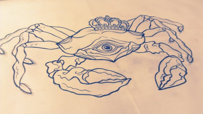 Big outline king crab with one eye in crown tattoo design by Ohrloch