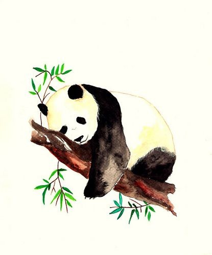 Big panda sleeping on bamboo tree tattoo design