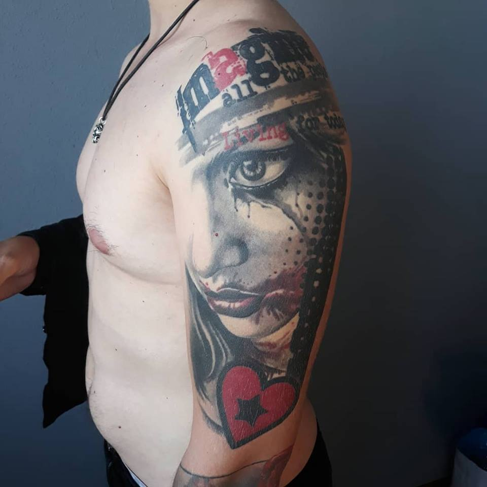 Big trash polka tattoo with girl face and heart