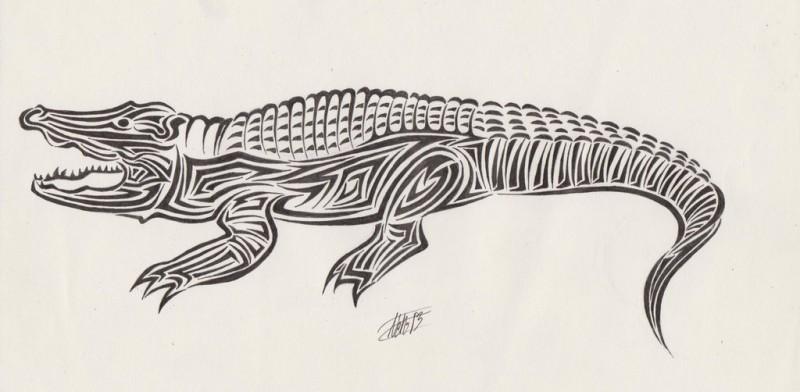Big tribal reptile tattoo design by Neruyia