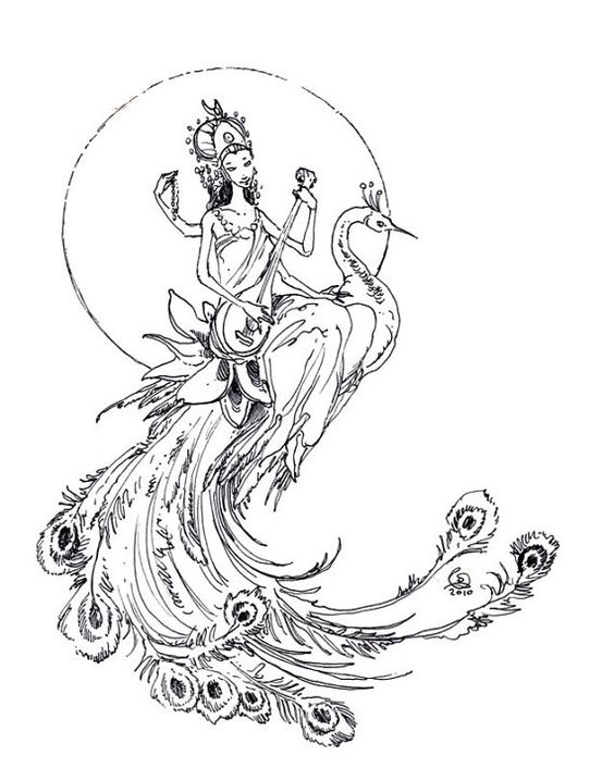 Big uncolored peacock with indian god rider playing a music instrument tattoo design