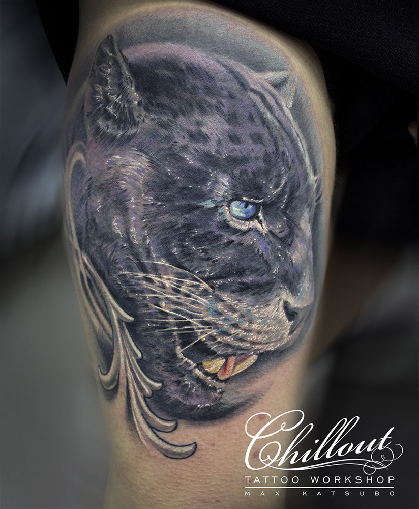 Big wild cat tattoo for men by max katsubo