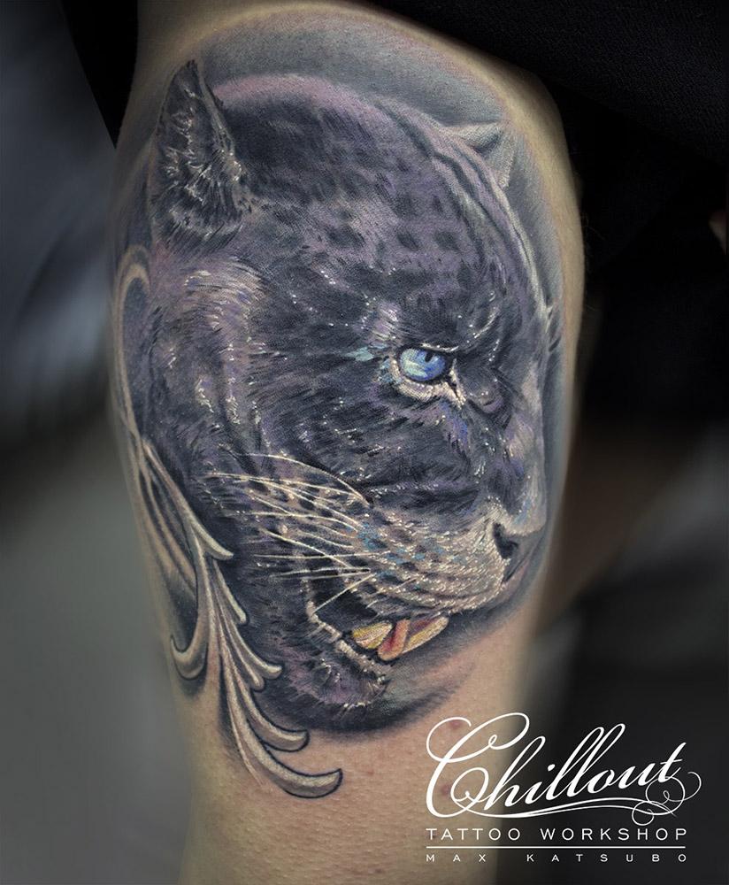 Tatuaggio grande per gatti selvaggi per uomo di max katsubo