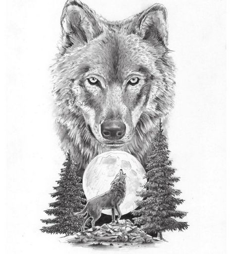 Big wolf muzzle and little wolf howling on moon tattoo design