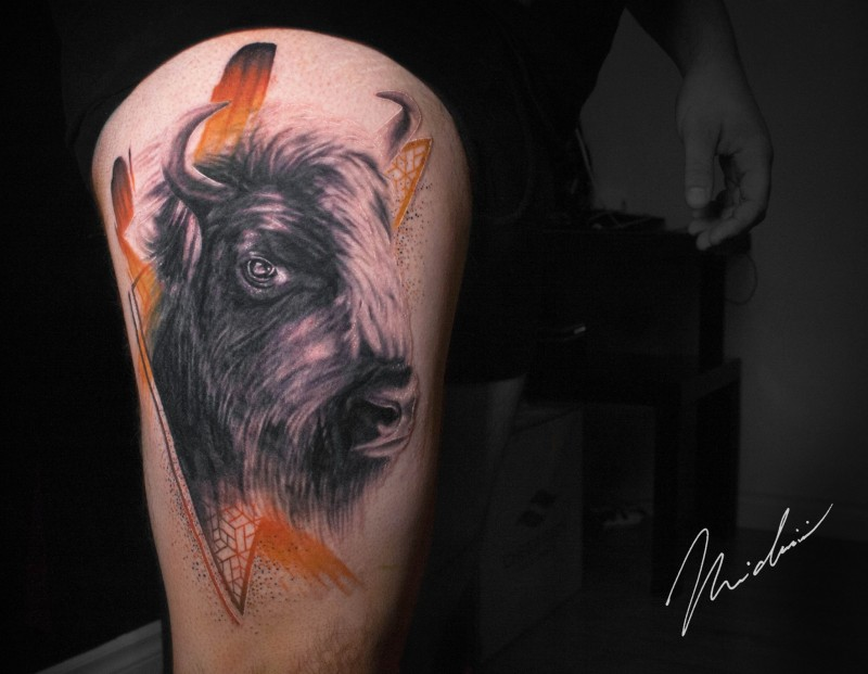 Bison tattoo on leg