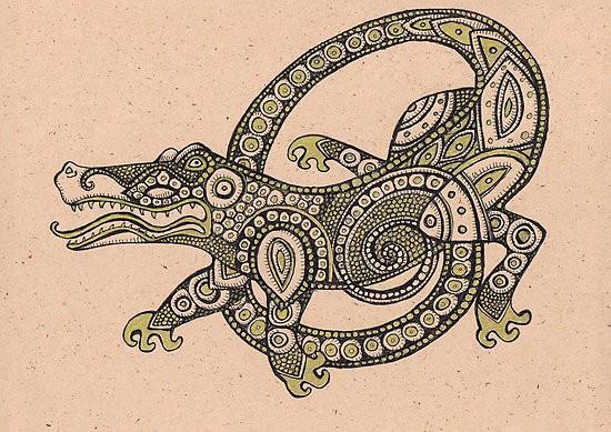 Black-and-green ornate reptile figure tattoo design