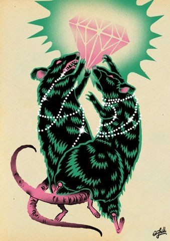 Black-and-green rodent couple fighting for pink shining diamond tattoo design