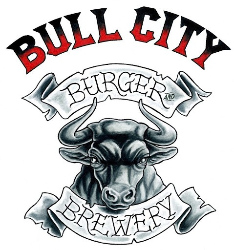 Black-and-grey bull with grey and red letterings tattoo design