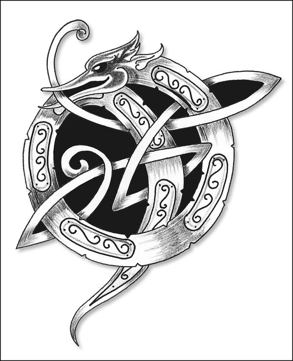 Black-and-grey celtic-style dragon tattoo design