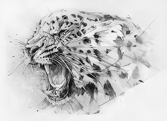 Black-and-grey screaming jaguar head tattoo design