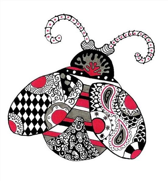 Black-and-pink ornamented ladybug tattoo design
