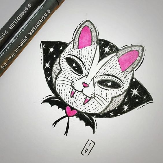 Black-and-pink vampire cat head tattoo design