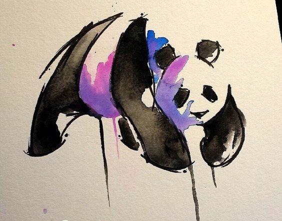 Black-and-purple lying panda bear tattoo design