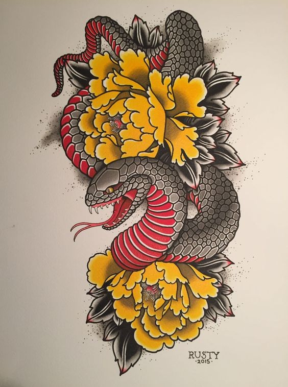 Black-and-red chinese reptile and yellow peonies tattoo design
