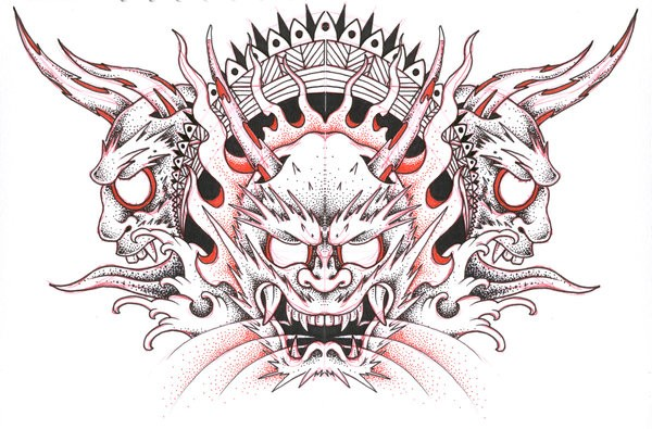 Black-and-red dotwork style demon heads tattoo design by Jon Too Good
