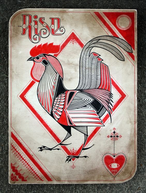 Black-and-red maori-style rooster in red rhombus frame tattoo design