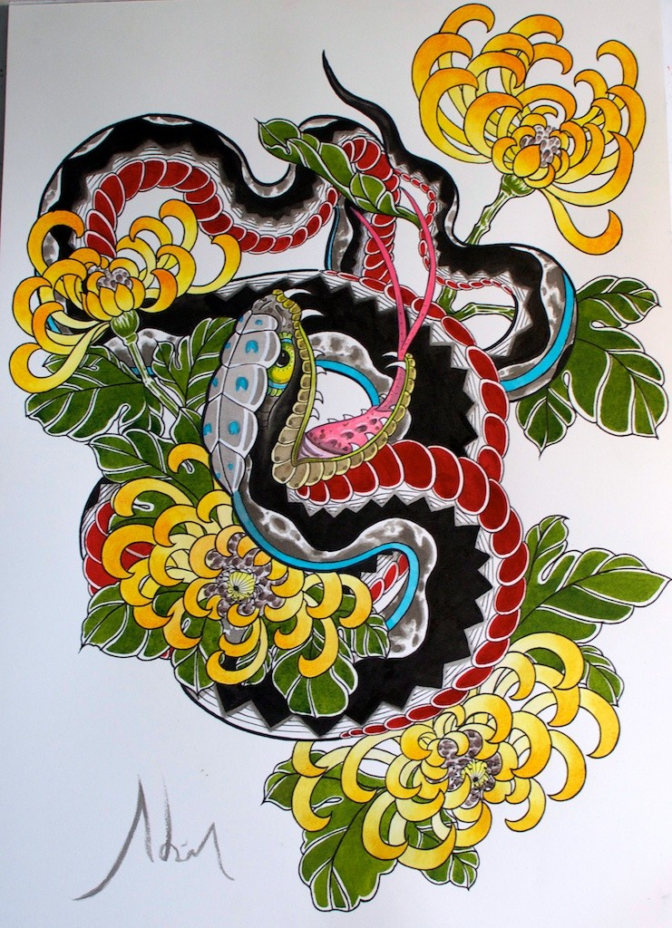 Black-and-red old school snake and yellow peony flowers tattoo design