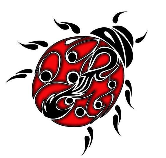 Black-and-red tribal-patterned ladybug tattoo design