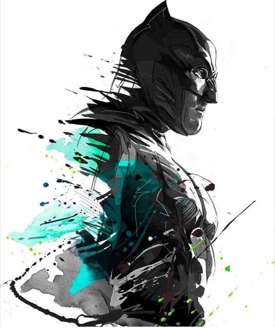 Black And Turquoise Watercolor Batman Portrait In Profile Tattoo Design Tattooimages Biz
