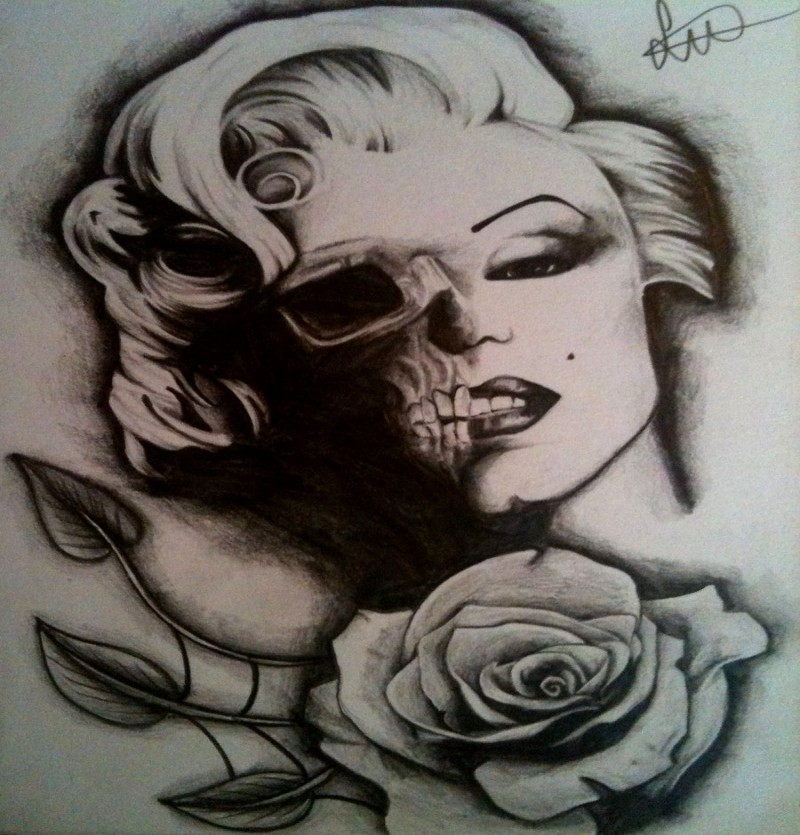 Black-and-white Merilyn Monroe zombie and a rose tattoo design by Sjevansart