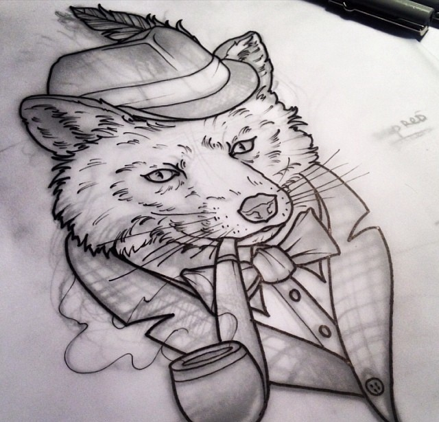 Black-and-white Mr Fox smoking a pipe tattoo design