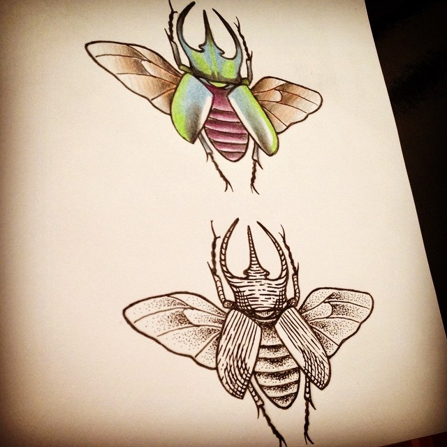 Black-and-white and colorful horned bug tattoo designs