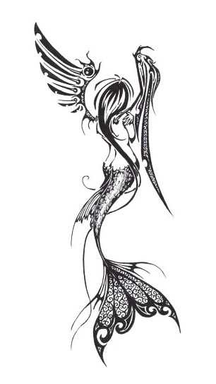 Black-and-white angel mermaid from back tattoo design
