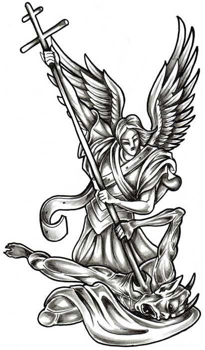 Black-and-white angel warrior killing a demon with a cross tattoo design