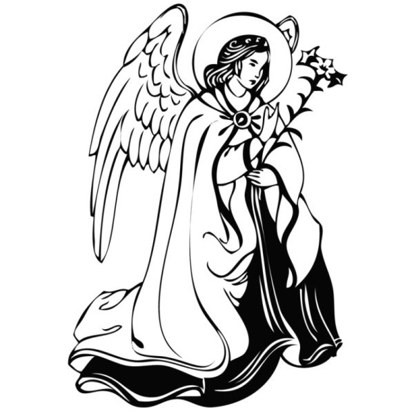 Black-and-white angel with a floral stem tattoo design