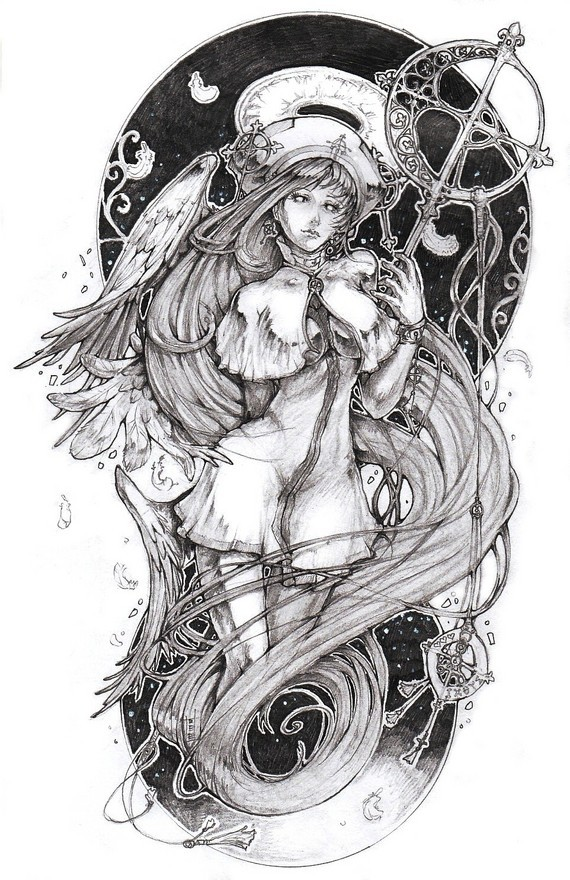 Black-and-white animated angel girl with a shining nimbus and a raven tattoo design