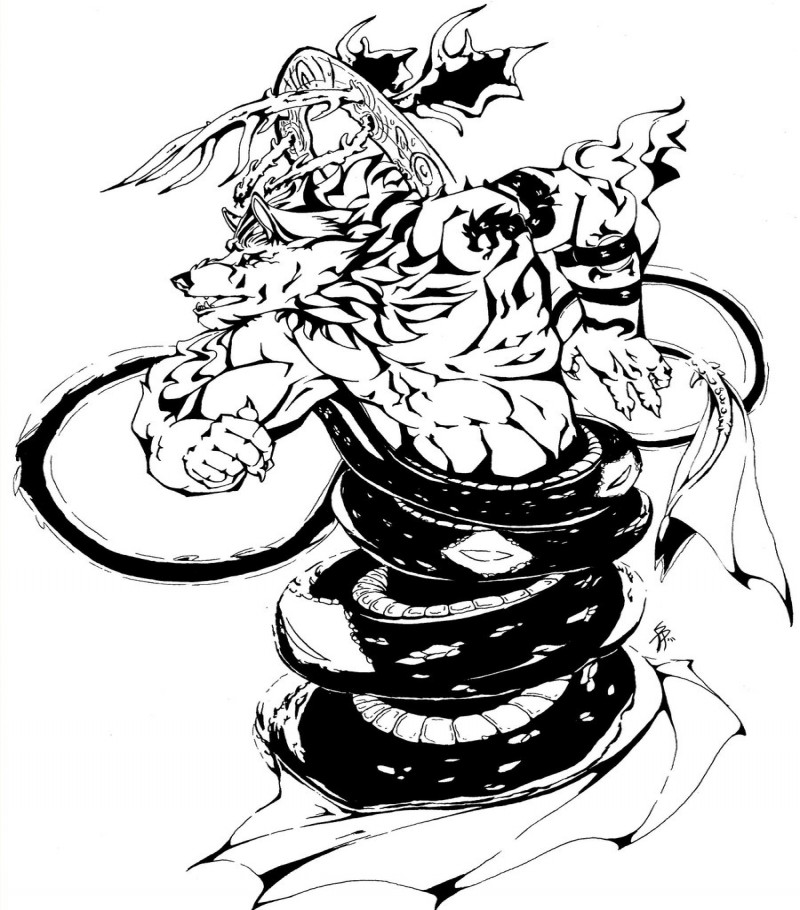 Black-and-white animated werewolf entwined with a thick snake tattoo design by Buckwulf