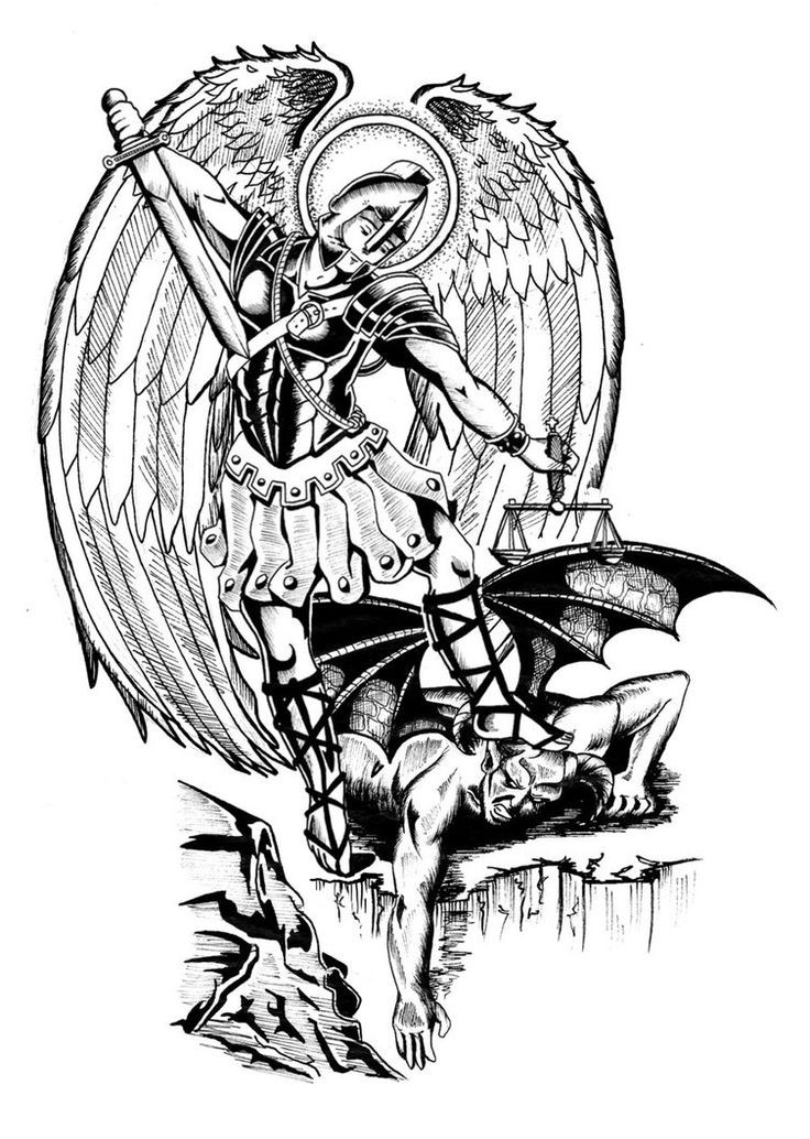 Black-and-white armoured angel warrior killing a monster tattoo design