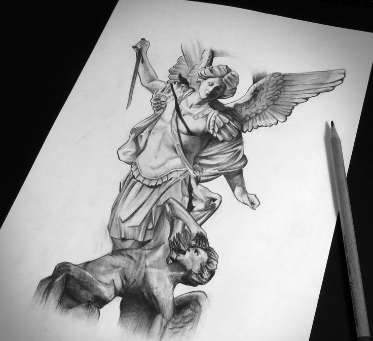 Black-and-white armoured angel warrior killing a sinner tattoo design