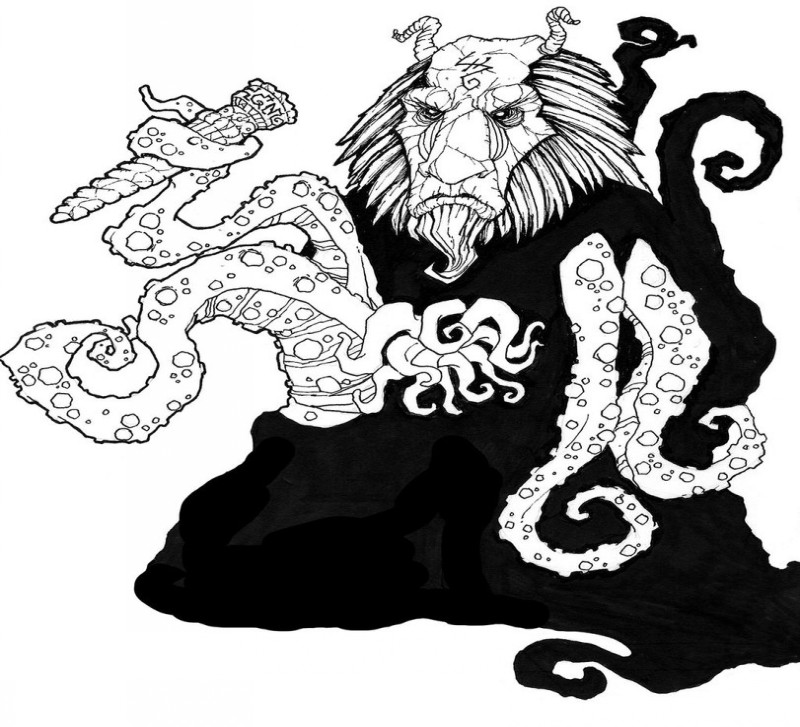 Black-and-white baboon demon with octopus tentacles tattoo design by Relkavin