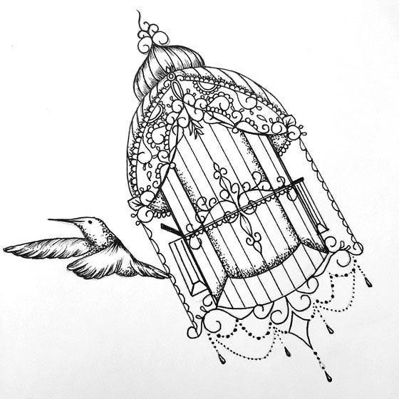Black-and-white bird flying fron ornamented cage tattoo design