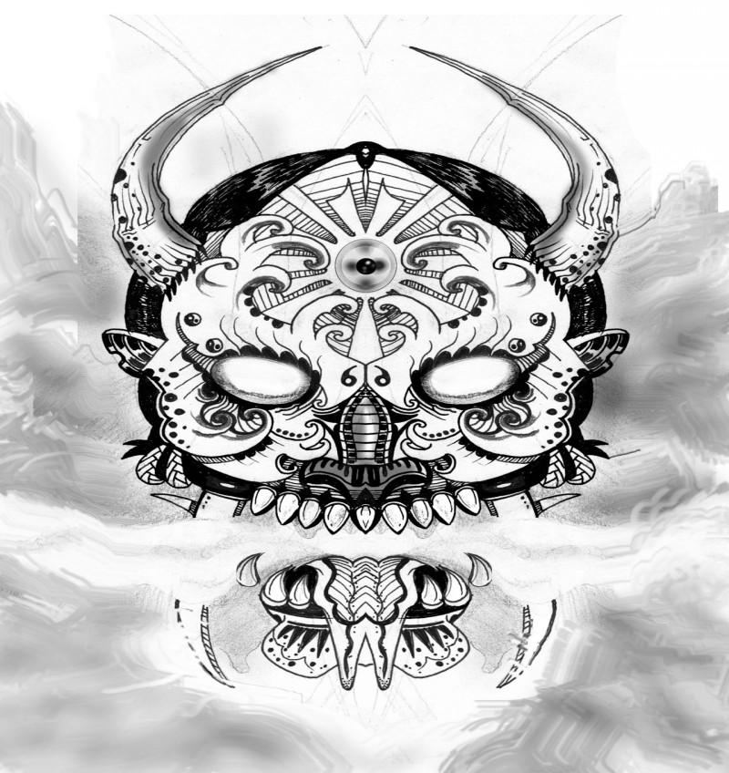 Black-and-white blind patterned devil face tattoo design
