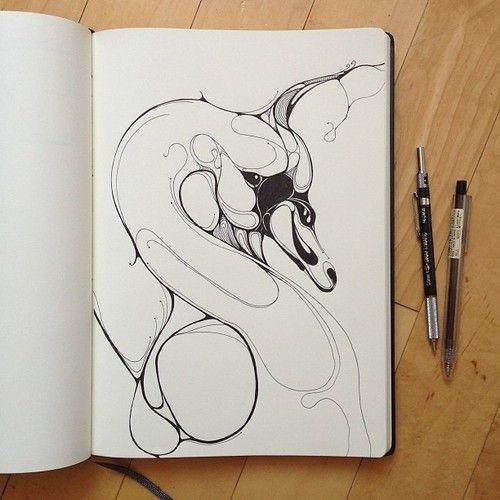 Black-and-white blurred swan head tattoo design