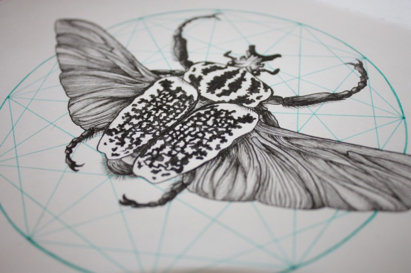 Black-and-white bug on turquoise-line polygon background tattoo design