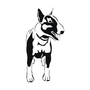Black-and-white bull terrier dog with hanging tongue tattoo design